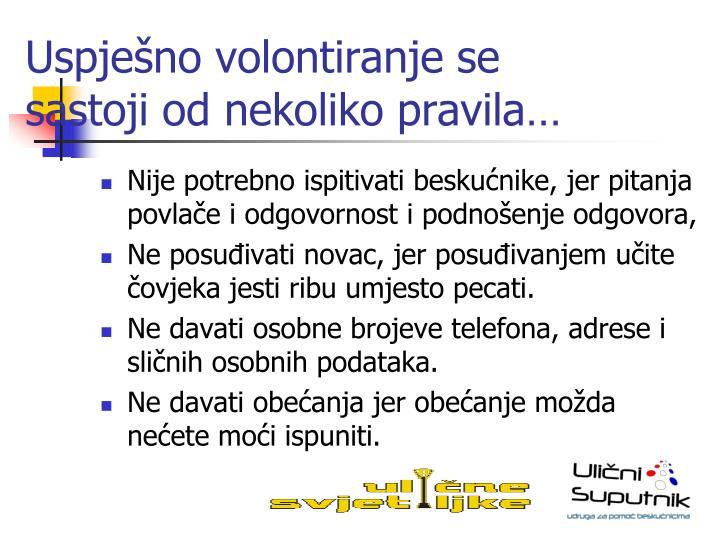 Uspješno volontiranje se sastoji od nekoliko pravila…