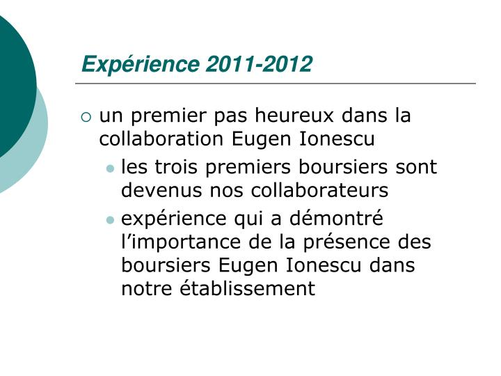 Expérience 2011-2012