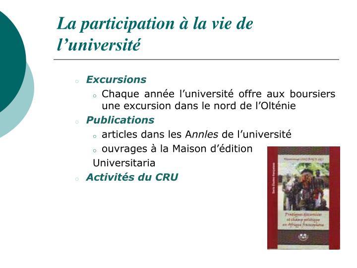 La participation à la vie de l'université
