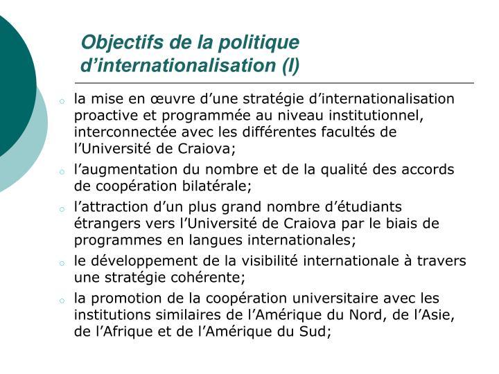 Objectifs de la politique d'internationalisation (I)
