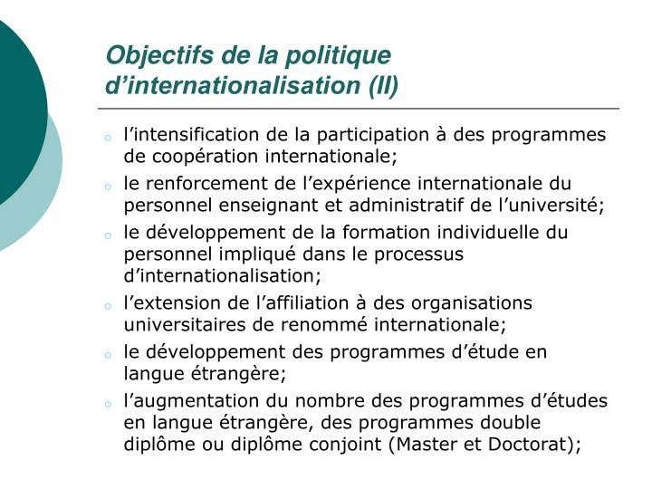 Objectifs de la politique d'internationalisation (II)