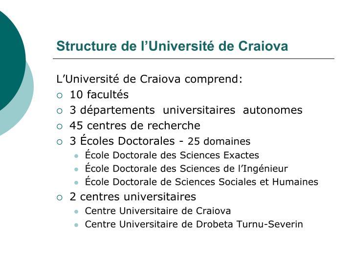 Structure de l'Université de Craiova