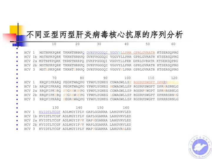 不同亚型丙型肝炎病毒核心抗原的序列分析