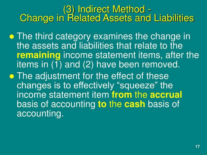 The third category examines the change in the assets and liabilities that relate to the