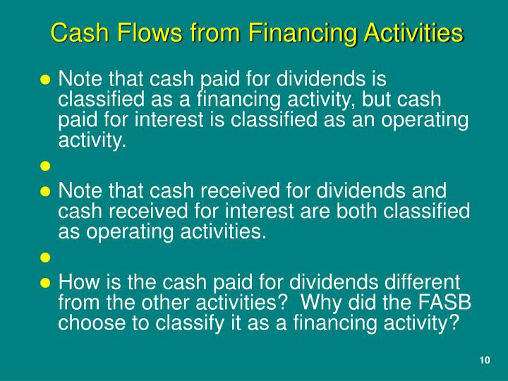 Note that cash paid for dividends is classified as a financing activity, but cash paid for interest is classified as an operating activity.