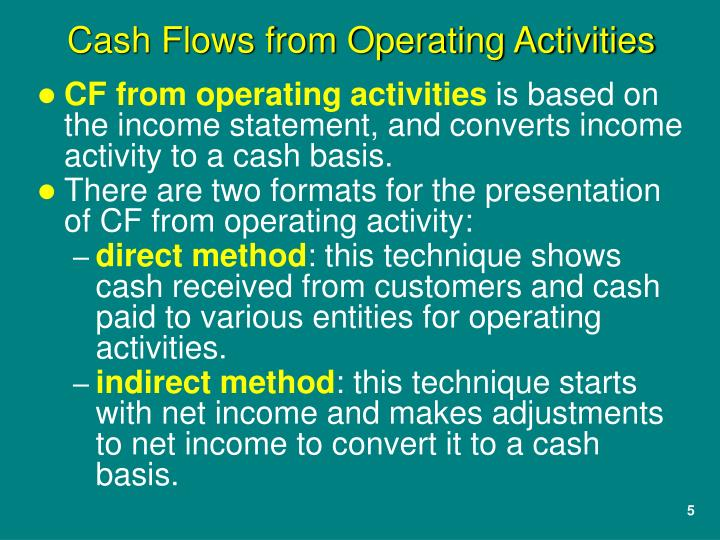 CF from operating activities