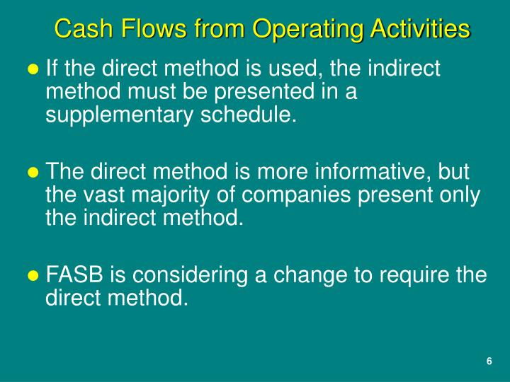 If the direct method is used, the indirect method must be presented in a supplementary schedule.