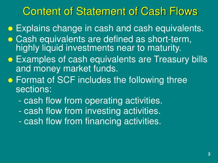 Explains change in cash and cash equivalents.