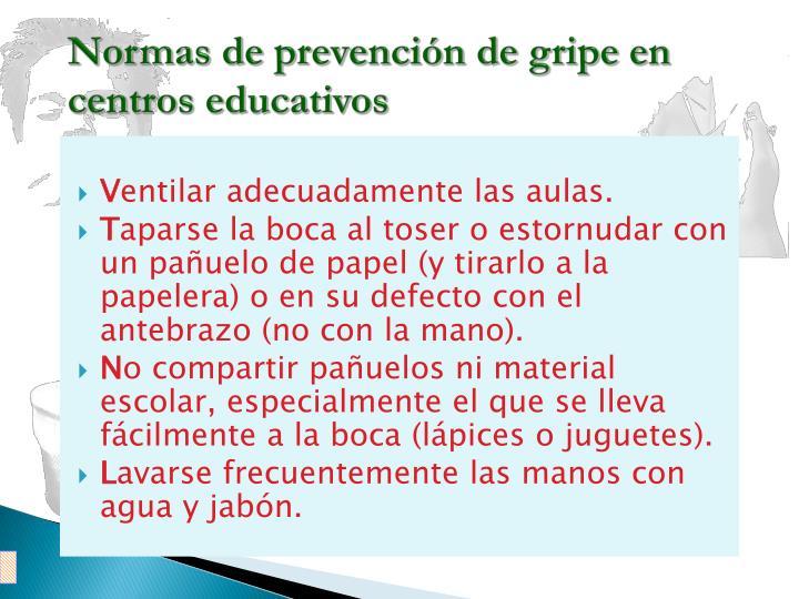 Normas de prevención de gripe en centros educativos