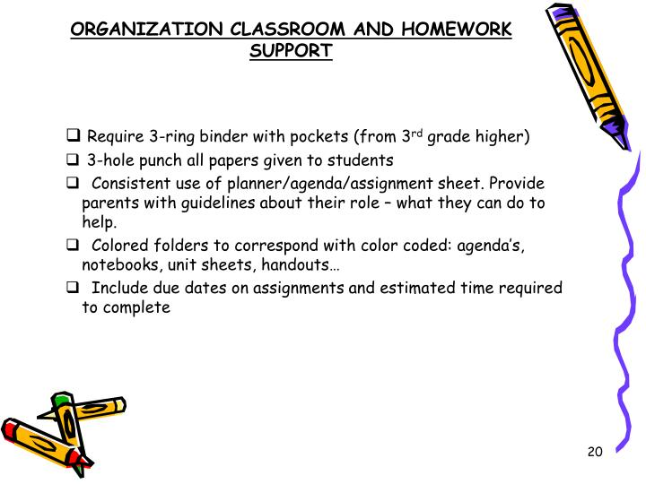 ORGANIZATION CLASSROOM AND HOMEWORK SUPPORT