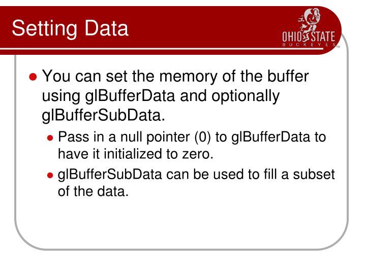 Setting Data