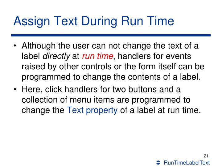 Assign Text During Run Time