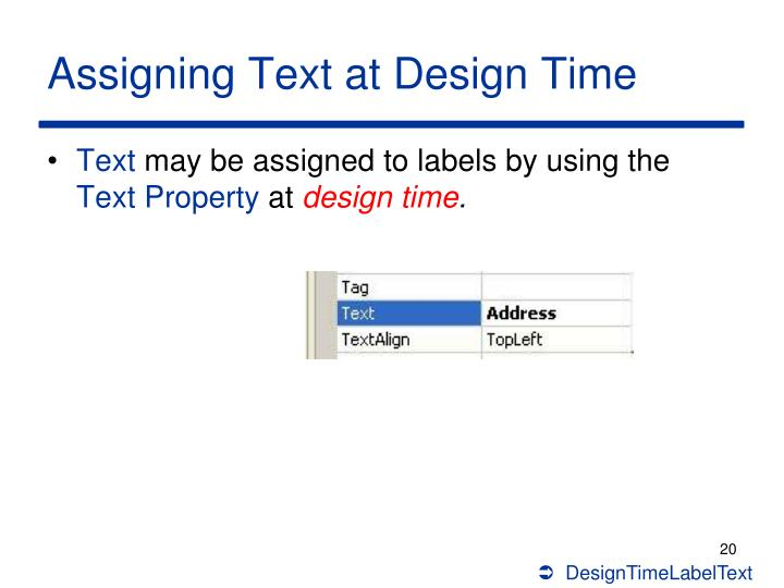 Assigning Text at Design Time