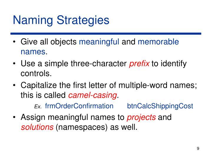 Naming Strategies