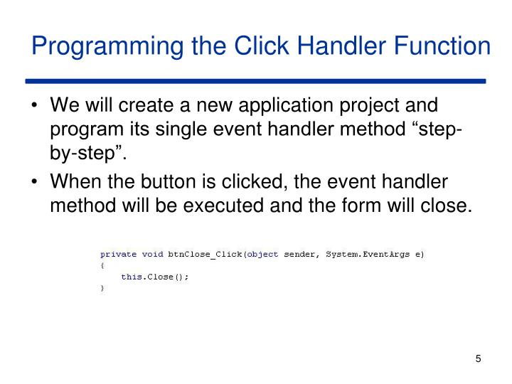 Programming the Click Handler Function