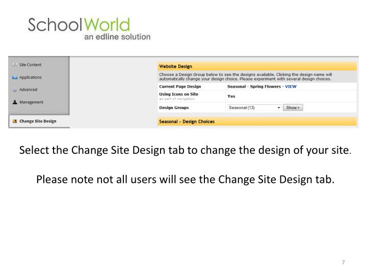 Select the Change Site Design tab to change the design of your site