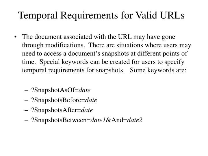 Temporal Requirements for Valid URLs