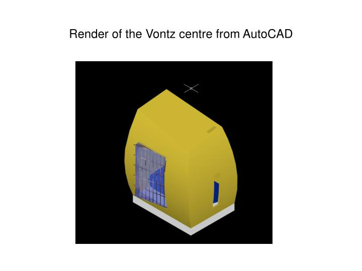 Render of the Vontz centre from AutoCAD