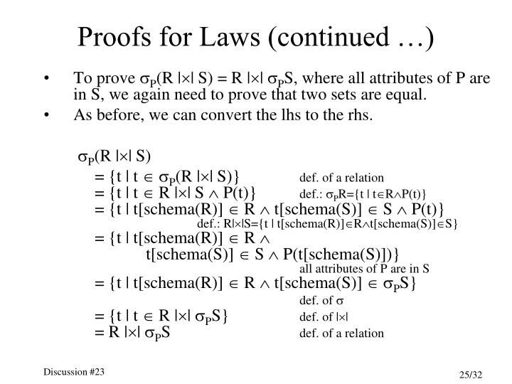Proofs for Laws (continued …)