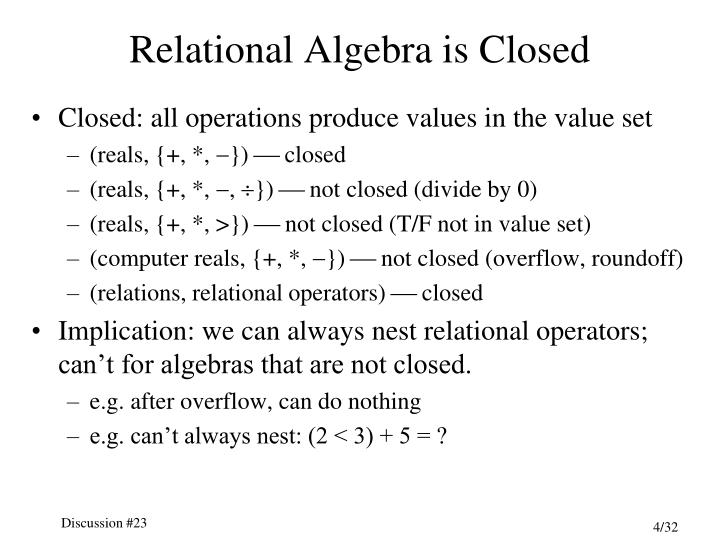 Relational Algebra is Closed