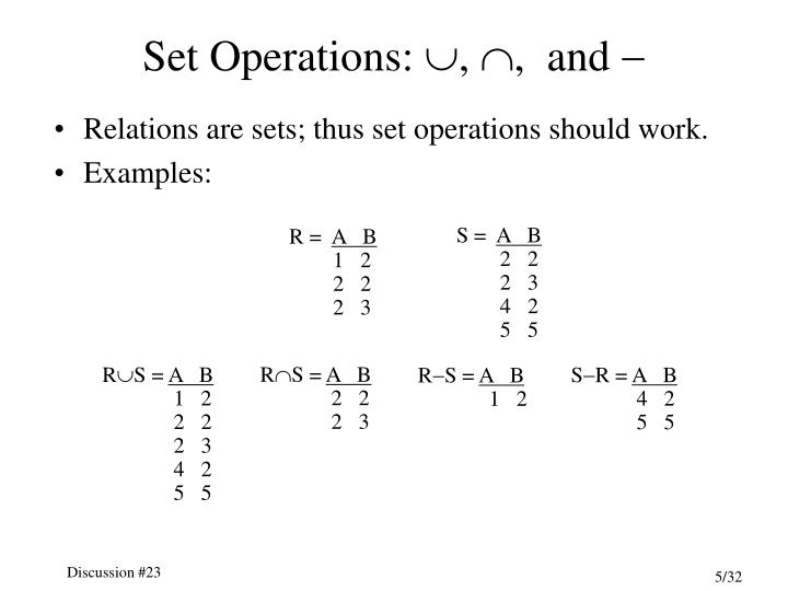 Set Operations: , ,  and 