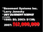 basement systems inc larry janesky dry basement science 115 000 1990 0 2003 13m 2007 62 000 000