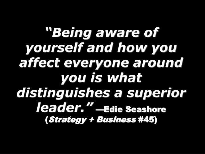 """Being aware of yourself and how you affect everyone around you is what distinguishes a superior leader."""