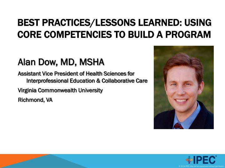 best practices lessons learned using core competencies to build a program