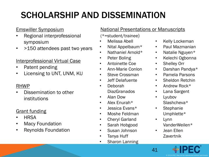 Scholarship and Dissemination