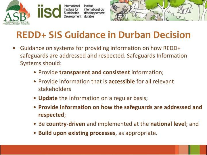 REDD+ SIS Guidance in Durban Decision