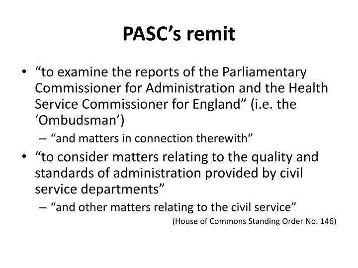 PASC's remit