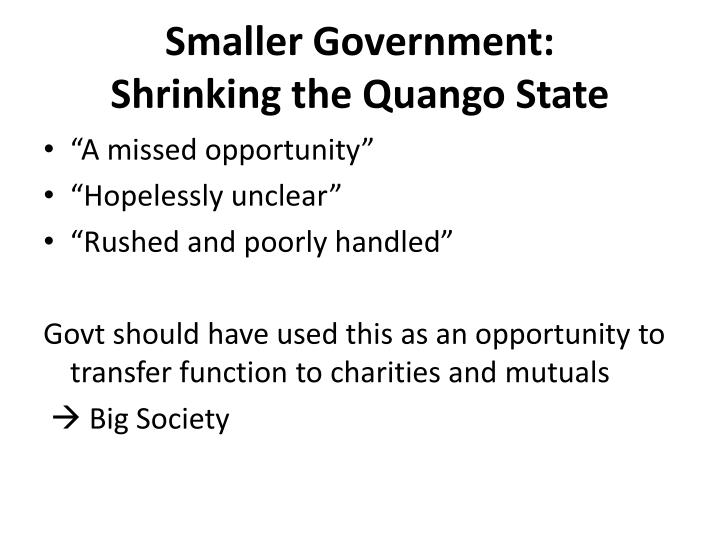 Smaller Government: