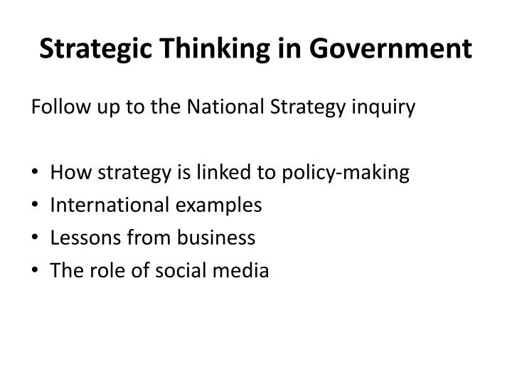 Strategic Thinking in Government
