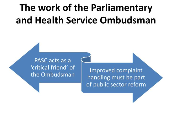 The work of the Parliamentary and Health Service Ombudsman