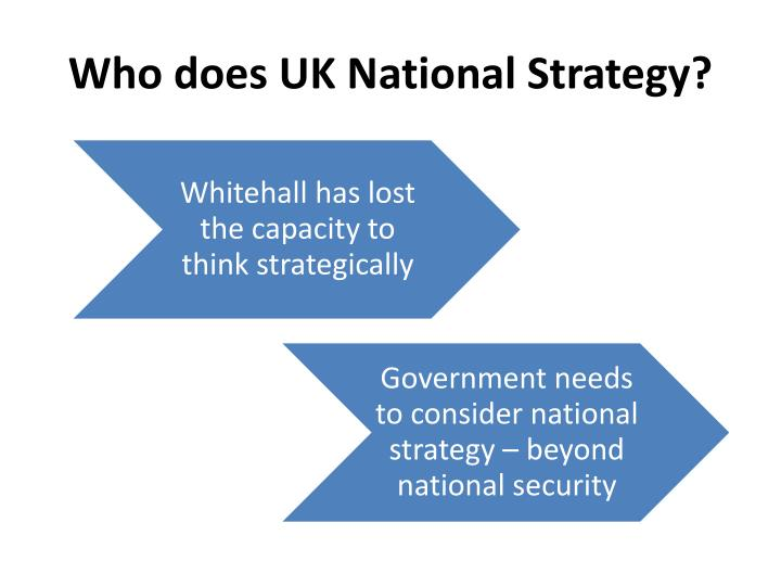 Who does UK National Strategy?