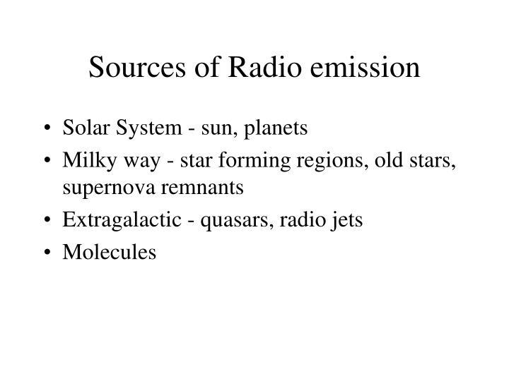 Sources of Radio emission