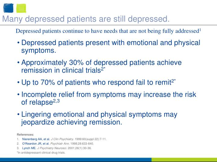 Many depressed patients are still depressed.