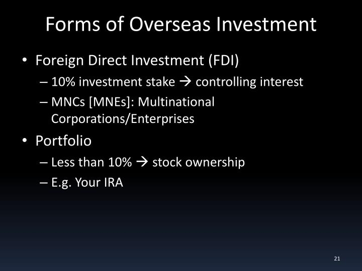 Forms of Overseas Investment