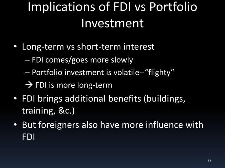 Implications of FDI vs Portfolio Investment