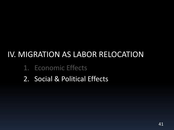 IV. MIGRATION AS LABOR RELOCATION