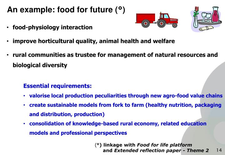 An example: food for future (