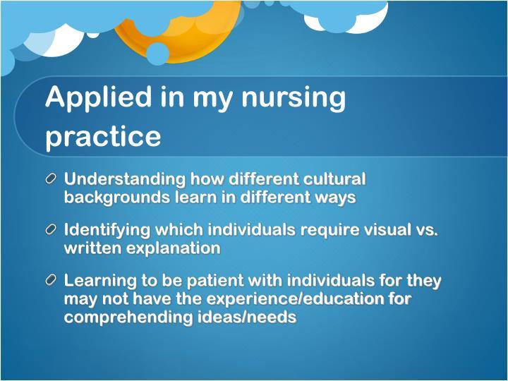 Applied in my nursing practice