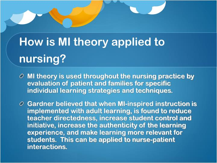 How is MI theory applied to nursing?
