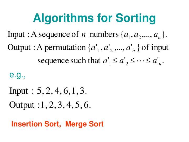Algorithms for Sorting