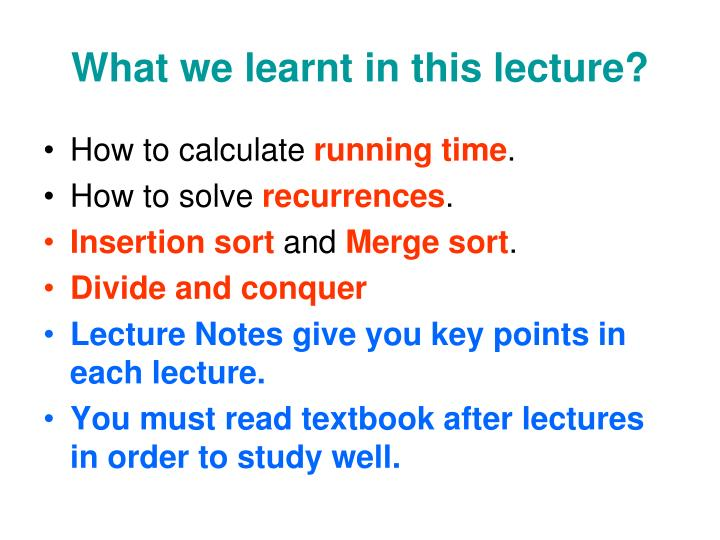 What we learnt in this lecture?