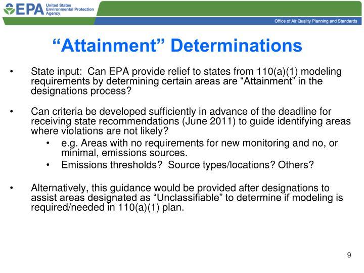 """Attainment"" Determinations"
