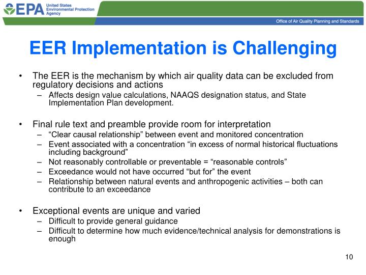 EER Implementation is Challenging