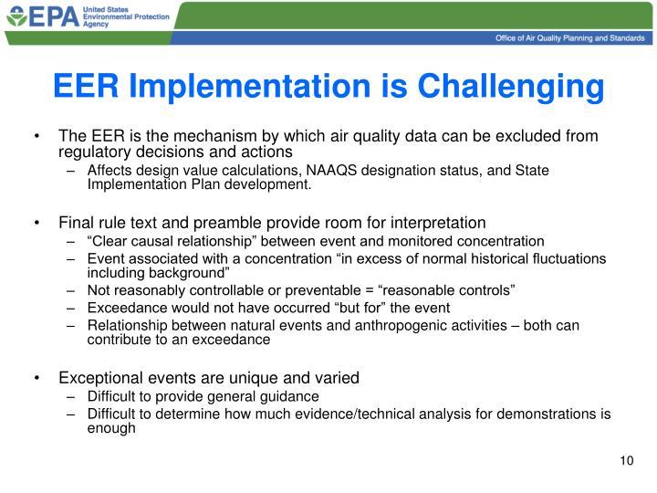 EER Implementation is Challenging