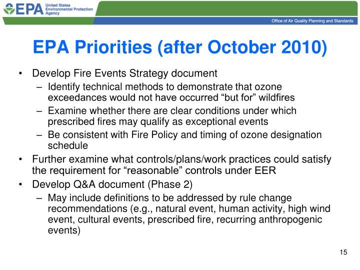 EPA Priorities (after October 2010)