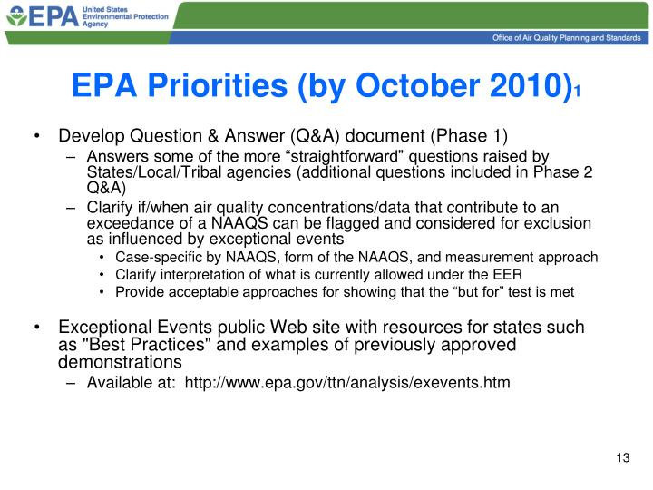 EPA Priorities (by October 2010)
